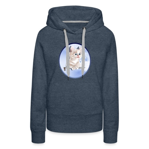 Sweet Pocket Kitten Oval - Women's Premium Hoodie