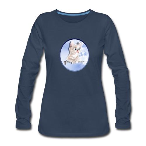 Sweet Pocket Kitten Oval - Women's Premium Long Sleeve T-Shirt