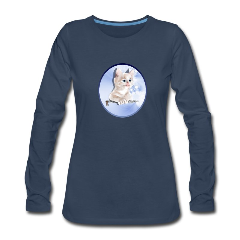 Sweet Pocket Kitten Oval - Women's Premium Long Sleeve T-Shirt