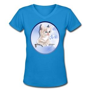 Sweet Pocket Kitten Oval - Women's V-Neck T-Shirt