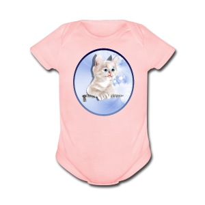 Sweet Pocket Kitten Oval - Short Sleeve Baby Bodysuit