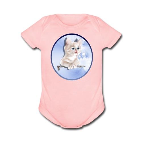 Sweet Pocket Kitten Oval - Organic Short Sleeve Baby Bodysuit