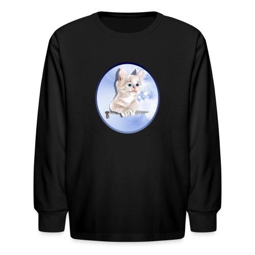 Sweet Pocket Kitten Oval - Kids' Long Sleeve T-Shirt