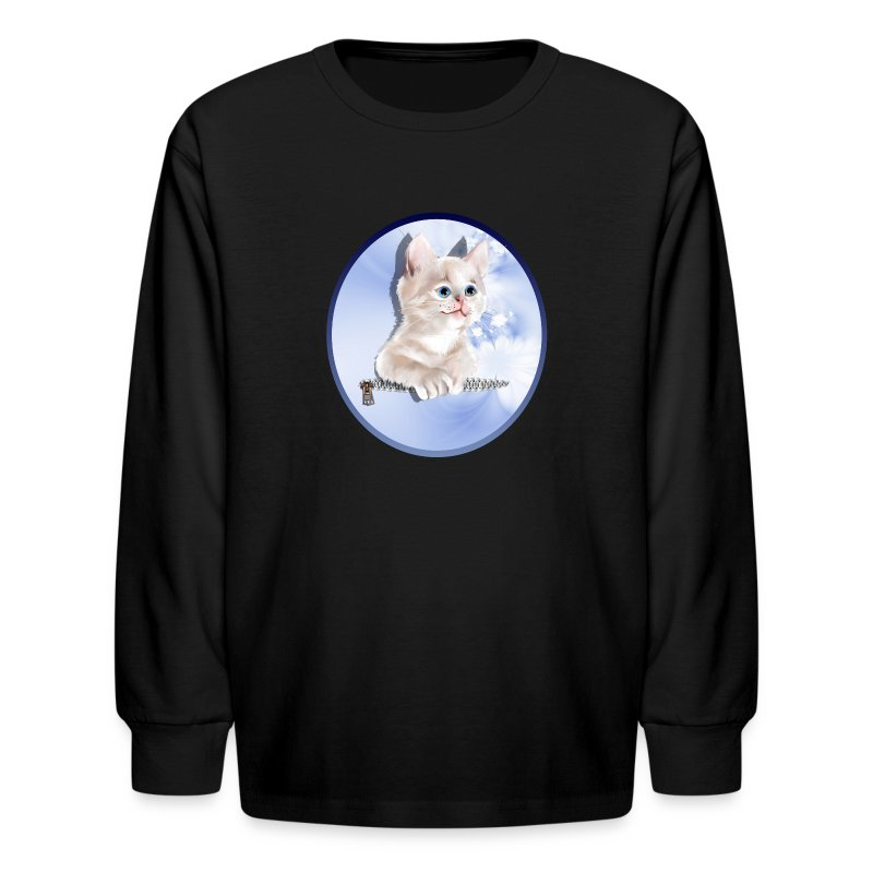 Sweet Pocket Kitten Oval - Kids' Long Sleeve T-Shirt
