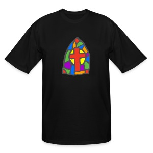 Stained Glass on front. Church you can believe in on back. - Men's Tall T-Shirt