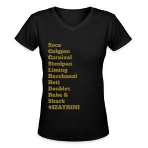Metallic Gold on Black  Women's V-Neck IZATRINI Patriot - Women's V-Neck T-Shirt