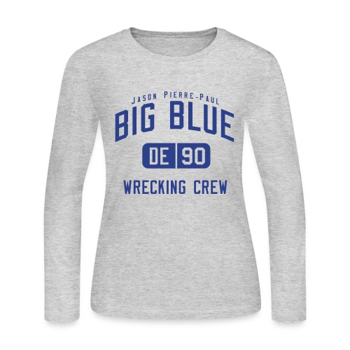 BIG BLUE Jason Pierre-Paul (DE #90) - Women's Long Sleeve Jersey T-Shirt