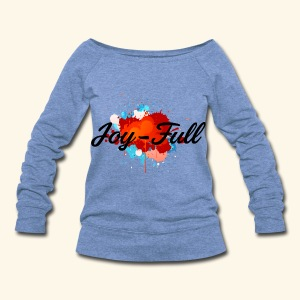 Joy Full Sweatshirt (Blue) - Women's Wideneck Sweatshirt