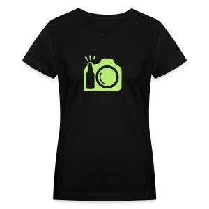 Black T-Shirt Green Logo - Women's V-Neck T-Shirt
