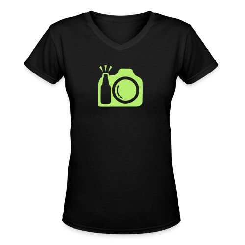 Black T-Shirt Green Logo - Women's V-Neck T-Shirt