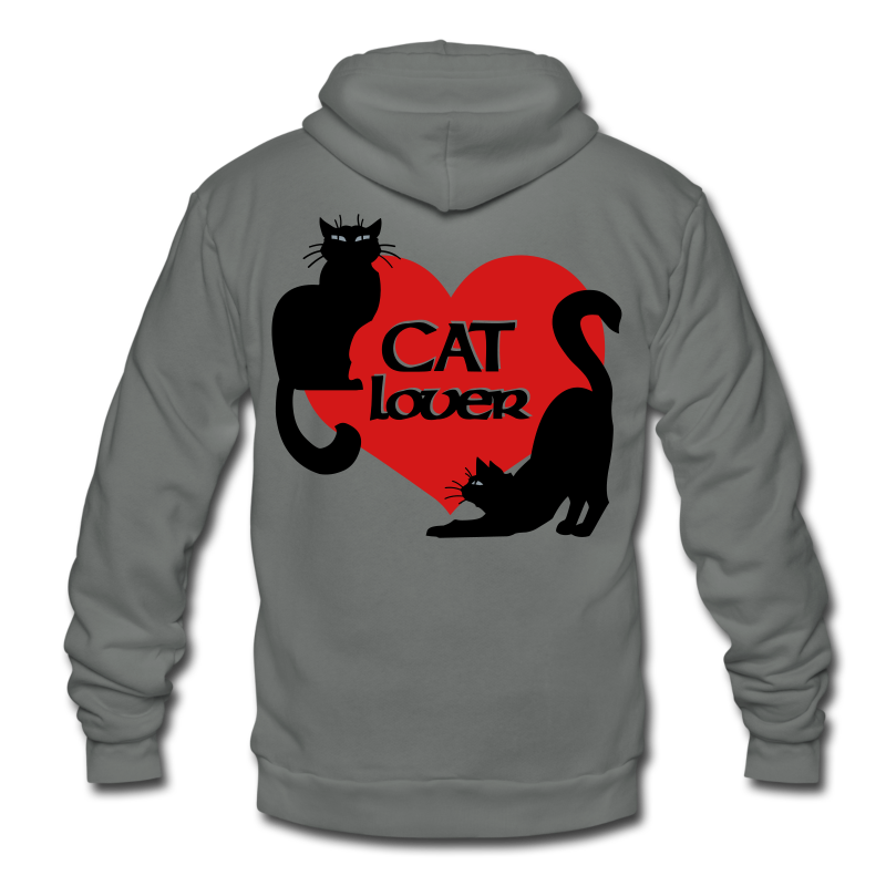 Cat Lover Hoodie Cat Lover Jacket - Unisex Fleece Zip Hoodie by American Apparel