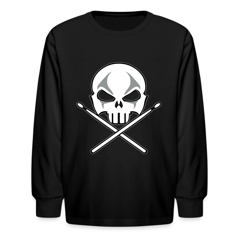 Rock and Roll Drummer Shirt Kid's Heavy Metal Drummer T-shirt - Kids' Long Sleeve T-Shirt