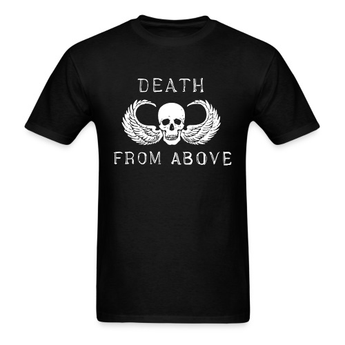 Death from above skull wings biker 1%er airborne  - Men's T-Shirt