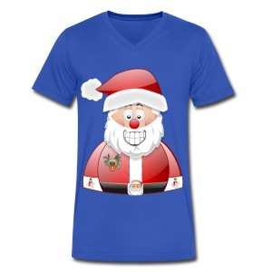 Smily Santa with father christmas badge & Raindeer - Men's V-Neck T-Shirt by Canvas