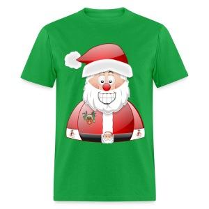 Smily Santa with father christmas badge & Raindeer - Men's T-Shirt