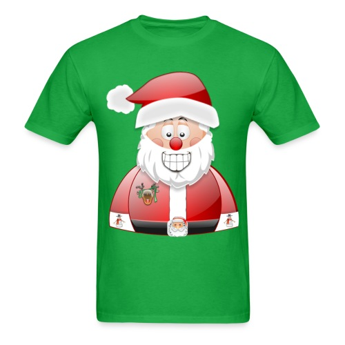 Smily Santa with father christmas badge & Raindeer - Men's T-Shirt