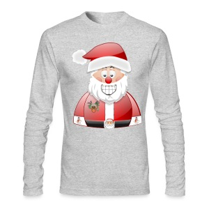 Smily Santa with father christmas badge & Raindeer - Men's Long Sleeve T-Shirt by Next Level