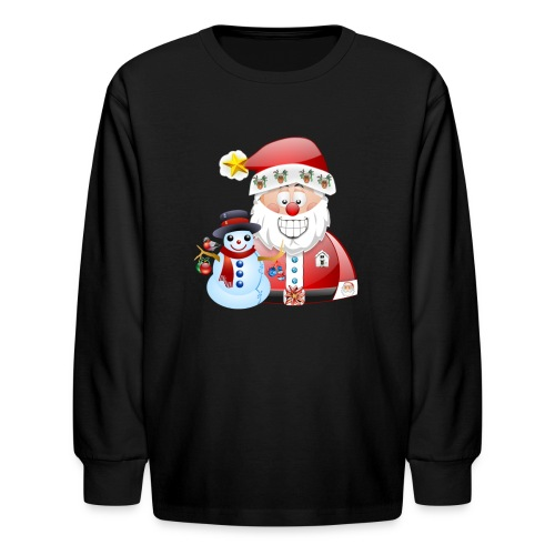 Christmas scene Santa father christmas snowman - Kids' Long Sleeve T-Shirt