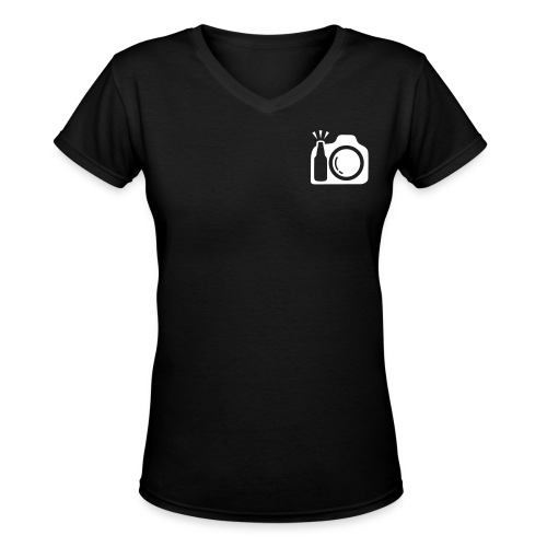 V Neck Black T-Shirt Small Logo Front and Drink and Click San Antonio Back - Women's V-Neck T-Shirt