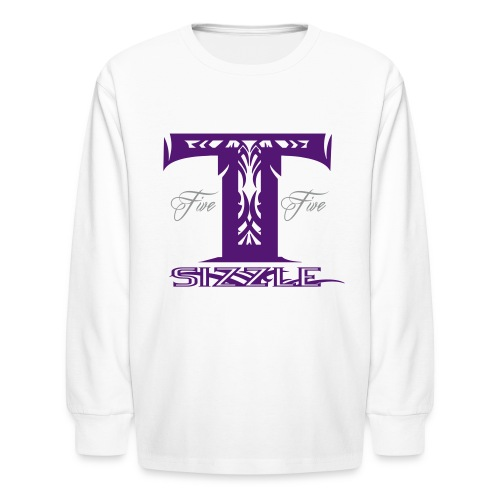 KIDS LONG SLEEVE  T SIZZLE LOGO WHITE/PURPLE - Kids' Long Sleeve T-Shirt