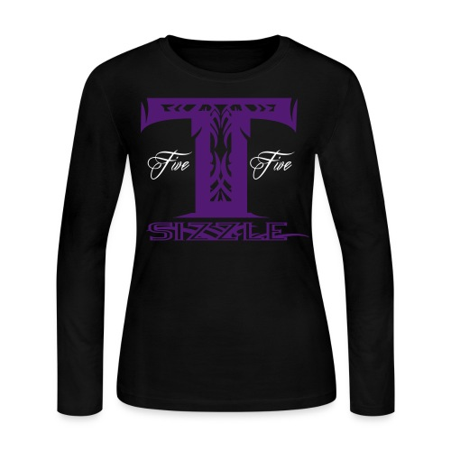 WOMENS LONG SLEEVE T SIZZLE LOGO WHITE/PURPLE  - Women's Long Sleeve Jersey T-Shirt
