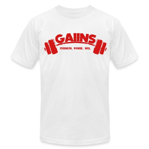 GAIINS 100% Cotton T-Shirt, with back design. - Men's Fine Jersey T-Shirt