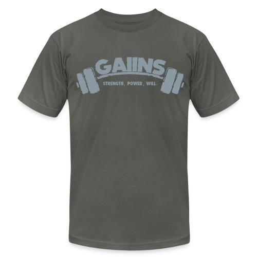 GAIINS 100% Cotton T-Shirt, with back design. - Men's  Jersey T-Shirt