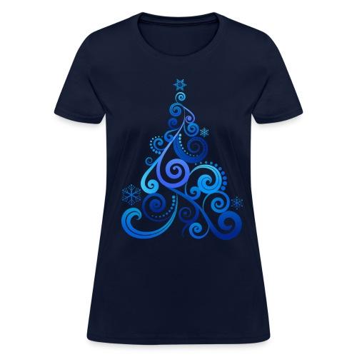 Blue Swirly Tree - Women's T-Shirt