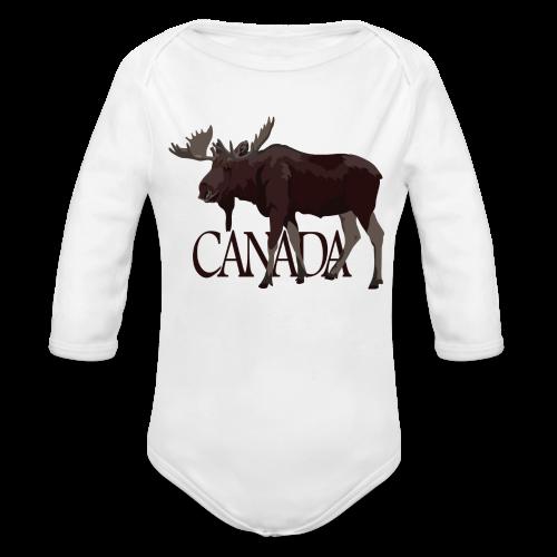Canada Moose Souvenir Baby One Piece  - Organic Long Sleeve Baby Bodysuit