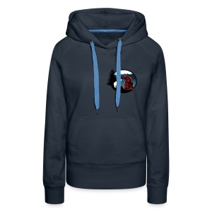 Women's Hoody with Small Logo (Navy Blue) - Women's Premium Hoodie