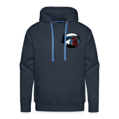 Men's/Unisex Hoody with Small Logo (Navy Blue) - Men's Premium Hoodie