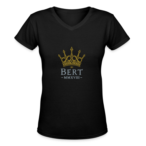 QueenBert 2018-Gold/Silver - Women's V-Neck T-Shirt