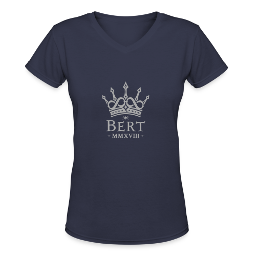 QueenBert 2018-Silver Glitter - Women's V-Neck T-Shirt