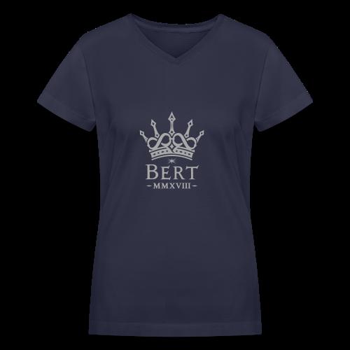 QueenBert 2018-Silver Glitter - Women's V-Neck T-Shirt