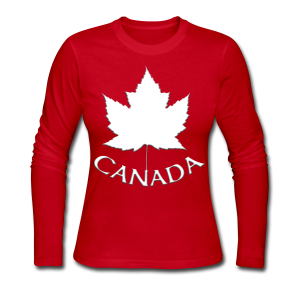 Women's Canada Jersey Shirt Long Sleeve Ladies T-shirt - Women's Long Sleeve Jersey T-Shirt