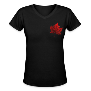 Women's Canada T-shirt Souvenir Canadian Maple Leaf Ladies Shirt - Women's V-Neck T-Shirt