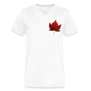 Men's Canada T- Shirt Souvenir Red Maple Leaf  Ringer T-shirts - Men's V-Neck T-Shirt by Canvas