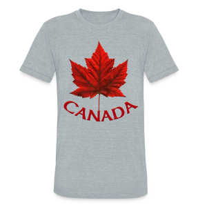 Men's Canada T- Shirt Souvenir Red Maple Leaf  Ringer T-shirts - Unisex Tri-Blend T-Shirt by American Apparel