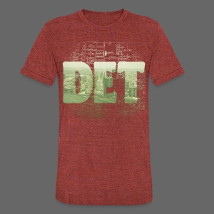 Detroit Skyline Map - Unisex Tri-Blend T-Shirt by American Apparel