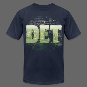 Detroit Skyline Map - Men's T-Shirt by American Apparel