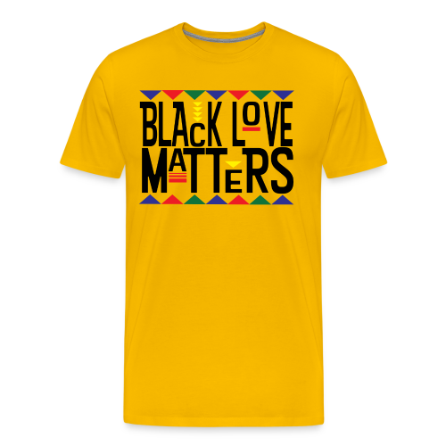 Men's BHM Black Love Matters Mustard FLS T-Shirt - Men's Premium T-Shirt