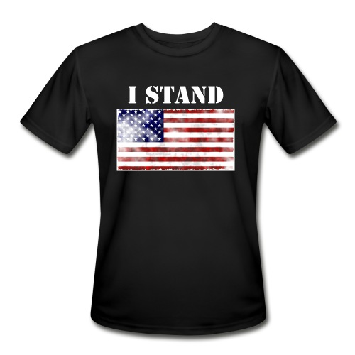 Mens Black I Stand T-Shirt - Men's Moisture Wicking Performance T-Shirt