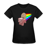 Women's T-Shirts ~ Women's T-Shirt ~ Nyan Pig - Ladies T-Shirt