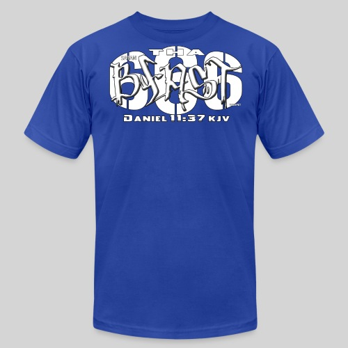 Men's  Jersey T-Shirt - This is how the majority see this number as the beast.  This tshirt design is focusing on the scripture of Daniel describing the character of the Anti-Christ.