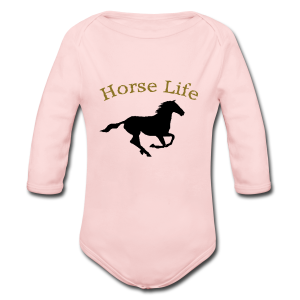 Horse life long sleeve body suite.  - Long Sleeve Baby Bodysuit