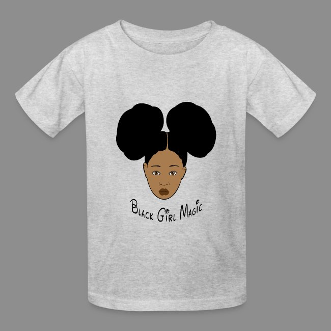 d9e27675 Black Style | Black Girl Magic Afro Puffs Kids Heather Gray T-shirt ...