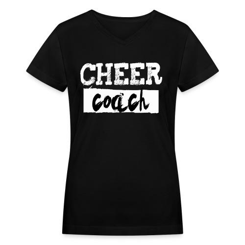 Cheer Coach - Black V-Neck - Women's V-Neck T-Shirt
