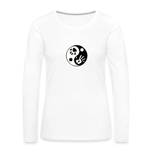 Ying Yang Paw and Hand Premium Long Sleeved Shirt - Women's Premium Long Sleeve T-Shirt