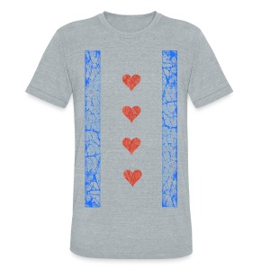 Chicago Hearts Flag - Unisex Tri-Blend T-Shirt by American Apparel