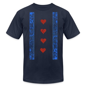 Chicago Hearts Flag - Men's T-Shirt by American Apparel